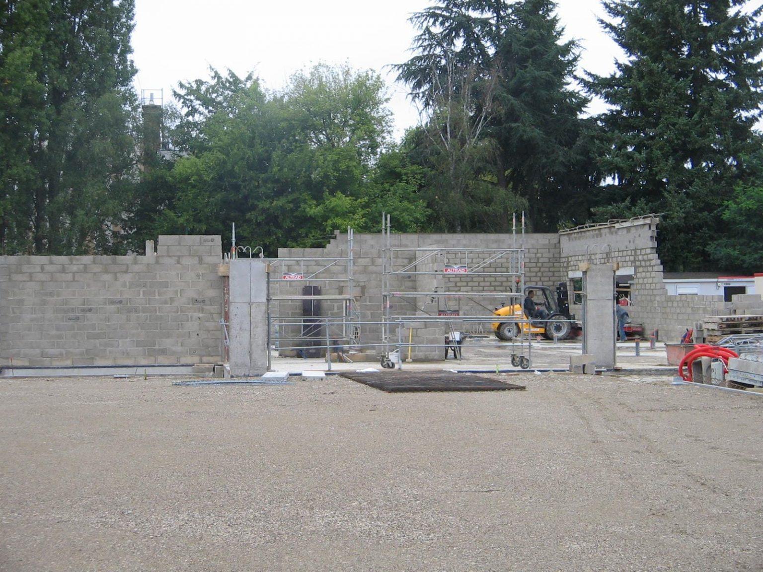 Elévation en bloc béton creux - parpaing de 750 m²